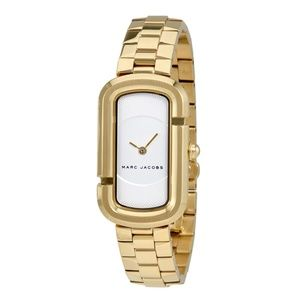 The Jacobs White Dial Ladies Gold Tone Watch